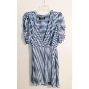 Reformation Gingham Mini Wrap Dress